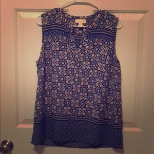 Pink and Blue Sleeveless Blouse